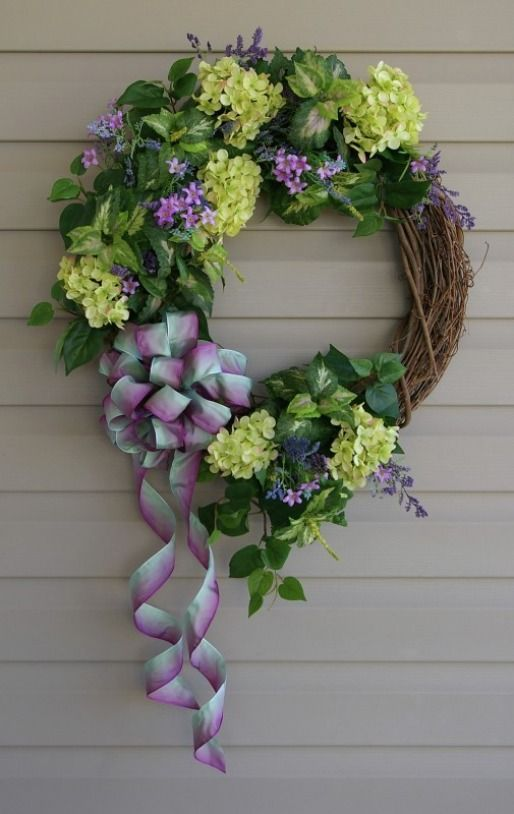 Hydrangea spring wreath...purple and green