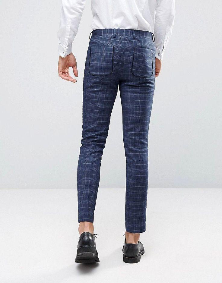 ASOS WEDDING Skinny Suit Pants in Check - Blue