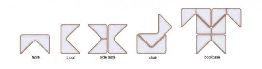 Chaise, table et bibliothèque modulaires Pacman   Cho Hyung Suk