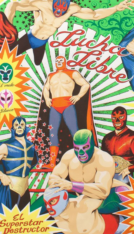 Alexander Henry - Collections Super Lucha Libre Sheeting Natural #fabric #cotton