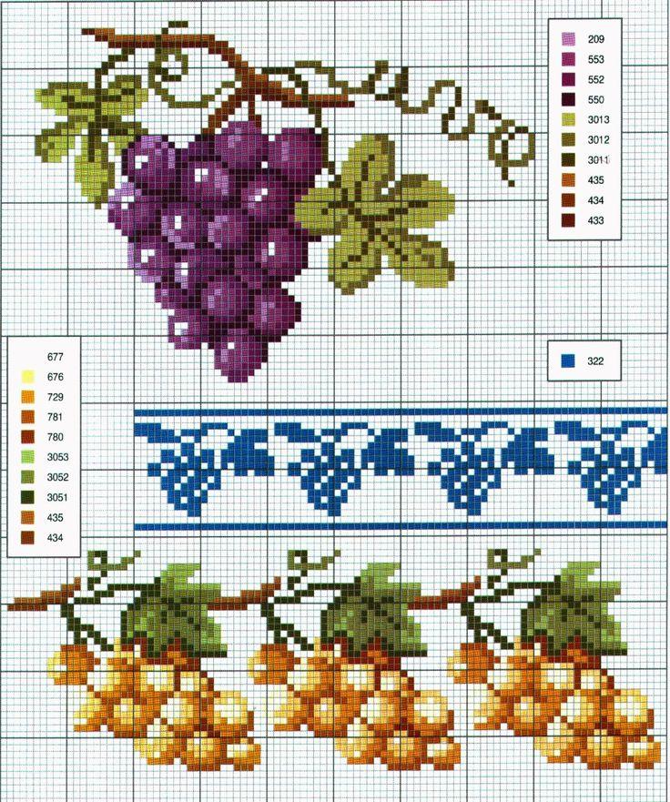 Ricami, lavori e schemi a puntocroce gratuiti: Schemi a punto croce: Cornici e bordi con fiori colorati