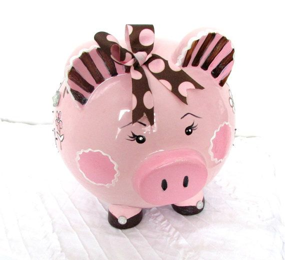 Painted Piggy Bank Large Piggy Bank Pink and Brown by MollieBurd