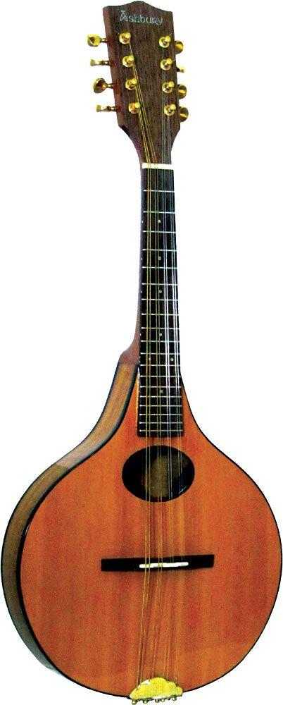 Ashbury Lindisfarne Mandolin, Onion shaped body. Solid cedar top, solid koa back and sides.  at Hobgoblin Music USA