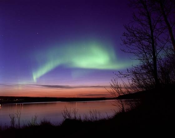 The northern lights as seen from Fort McMurray, Alberta in Canada