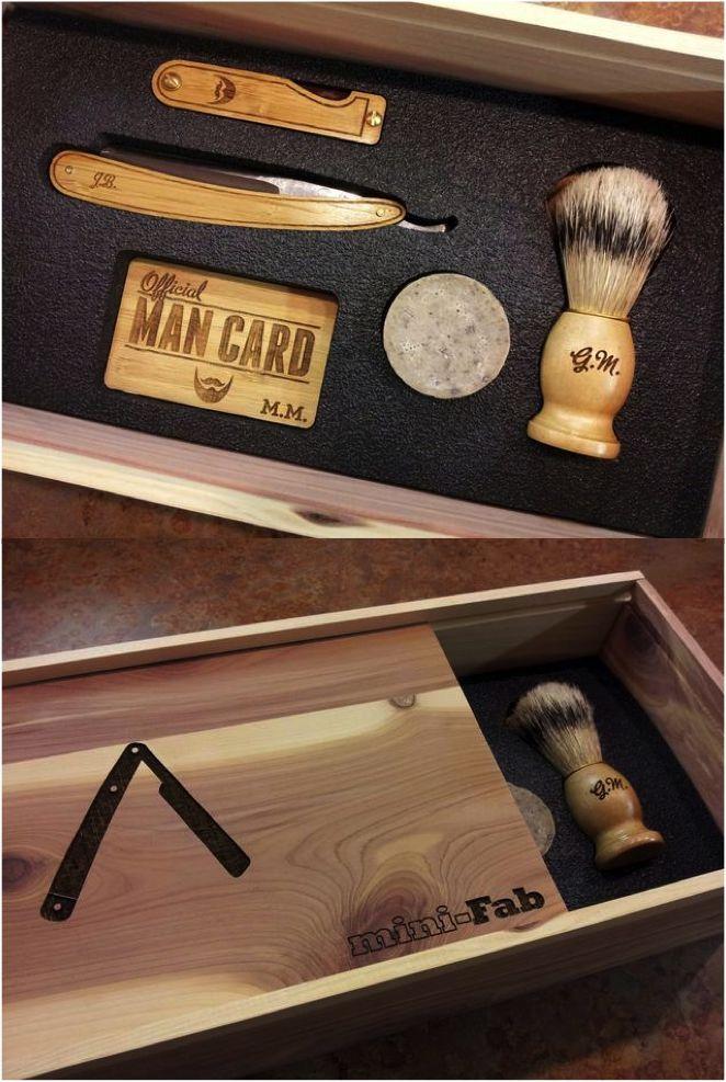 Official Man Card Cigar Box & Straight Razor Shaving Set