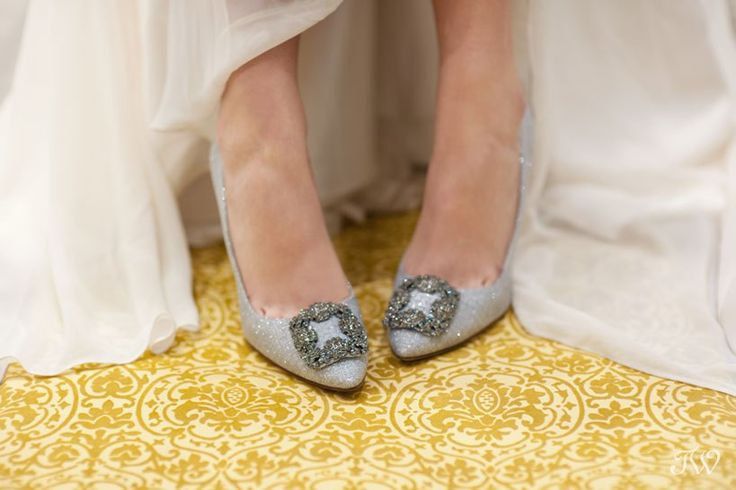 A Manolo Blahnik bride    Crystal-toe pumps from @holtrenfrew   Flowing bridal gown from @pearlanddot    Calgary wedding photographer