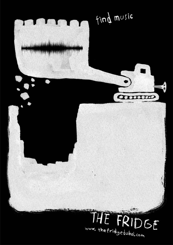 Campaign: Find Music: Excavator / Advertiser: The Fridge / Agency: TBWA/Raad Dubai / Country: UAE / Creative Director: Milos Ilic / Art Director: Milos Ilic & Meghan Cabral / Award: Illustration Cristal