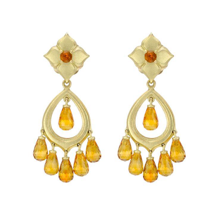 Paul Morelli Dream Catcher Citrine 18k Gold Chandelier Earrings