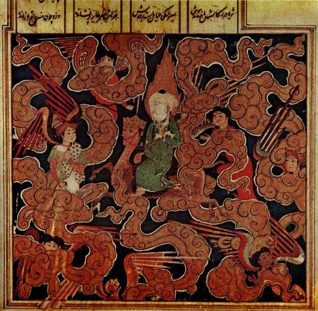 "Mohammed on the ""Miraj,"" or Night Journey, riding on Buraq amidst angels. From the Khamsa of Nizami, Shirazi style of painting, Persia, 1517 AD. This is one of the clearest examples of Mohammed being painted originally with his face visible, but having it later scratched out by a religious zealot. Published in the book Islamic Art."