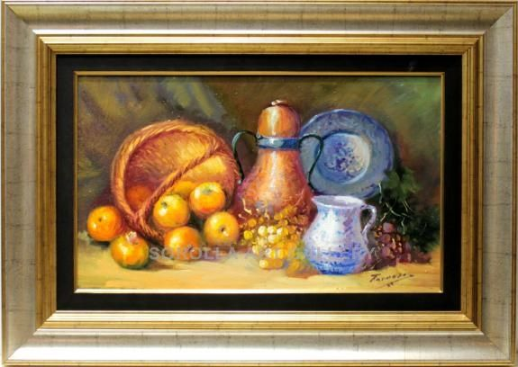 Tarrasó : Still life. Medium: Oil on canvas Measurements (cm): 76x53 Canvas measurements (cm): 46x33 Interior frame: Yes. Excellent work with courageous colouring, on a different theme from what we are accustomed to see from this excellent painter.  $507.77