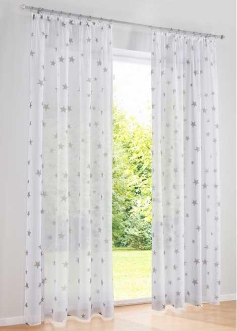 """Jetzt anschauen: Top aktuelles Design: unsere Gardine """"Sterne"""" mit Sternen-Druck. Die leichte Voile-Qualität fällt wunderbar weich und gibt Ihrem Fenster den perfekten Rahmen. Mit dem Kräuselband oder den Ösen ist die Gardine im Nu angebracht und Sie können Ihre Freude daran genießen."""