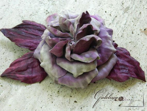 LEATHER VIOLET ROSE  flower   pin brooch hair hat by Galelina