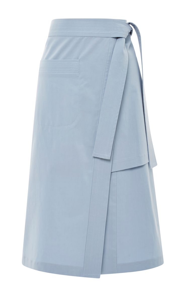 Blue Layered Split Skirt by Suno