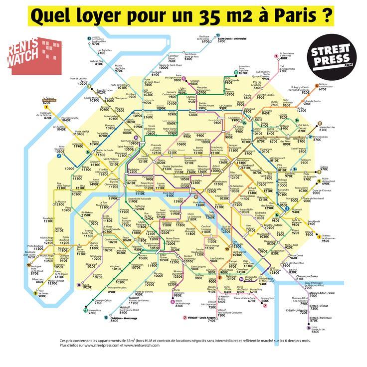Stations de métro mappées selon le prix des loyers à Paris, pour un 35m2. Une autre façon de découvrir la capitale selon votre budget ? Et si vous ne vous posez pas, on attend celle des départements voisins...