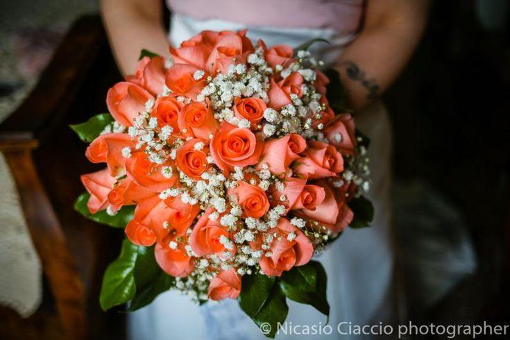 Bouquet Sposa rose color salmone