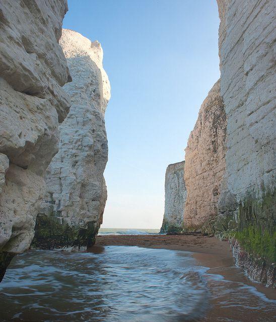 chalk cliffs and stacks at Botany Bay, Kent, England