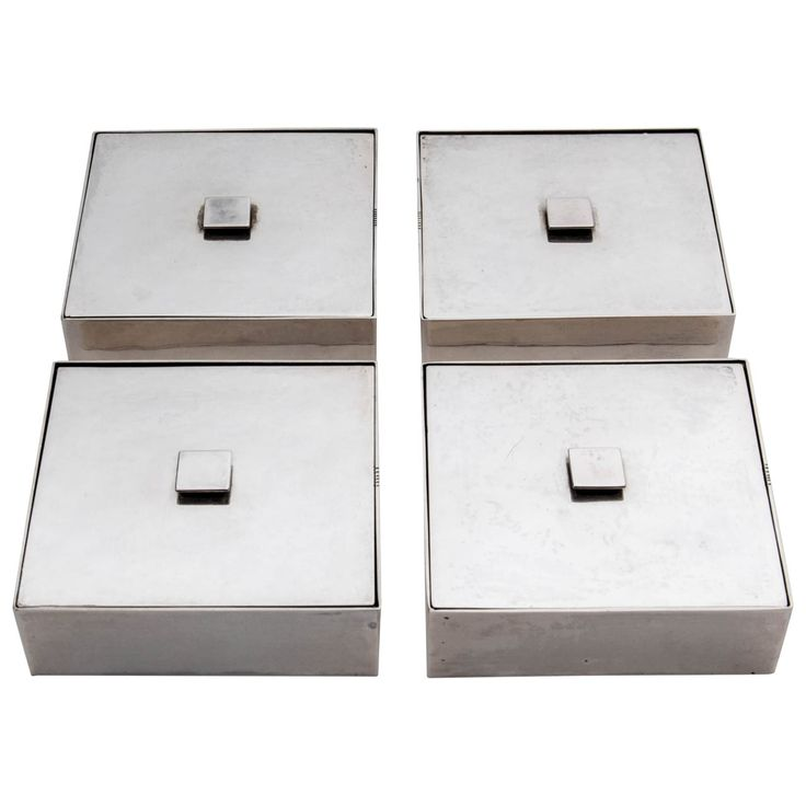 Carl F. Carlman Swedish Art Deco Set Of Four Covered Silver Boxes Circa  1930 |