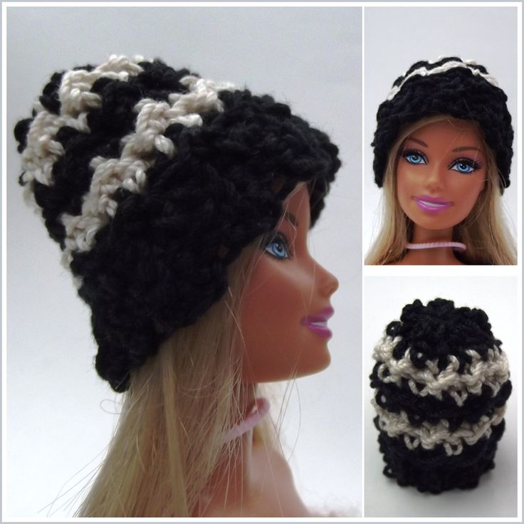 Free crochet pattern for a striped Barbie Beanie. The Barbie hat is crocheted using a size 3 crochet thread, and  works up quick and easy.
