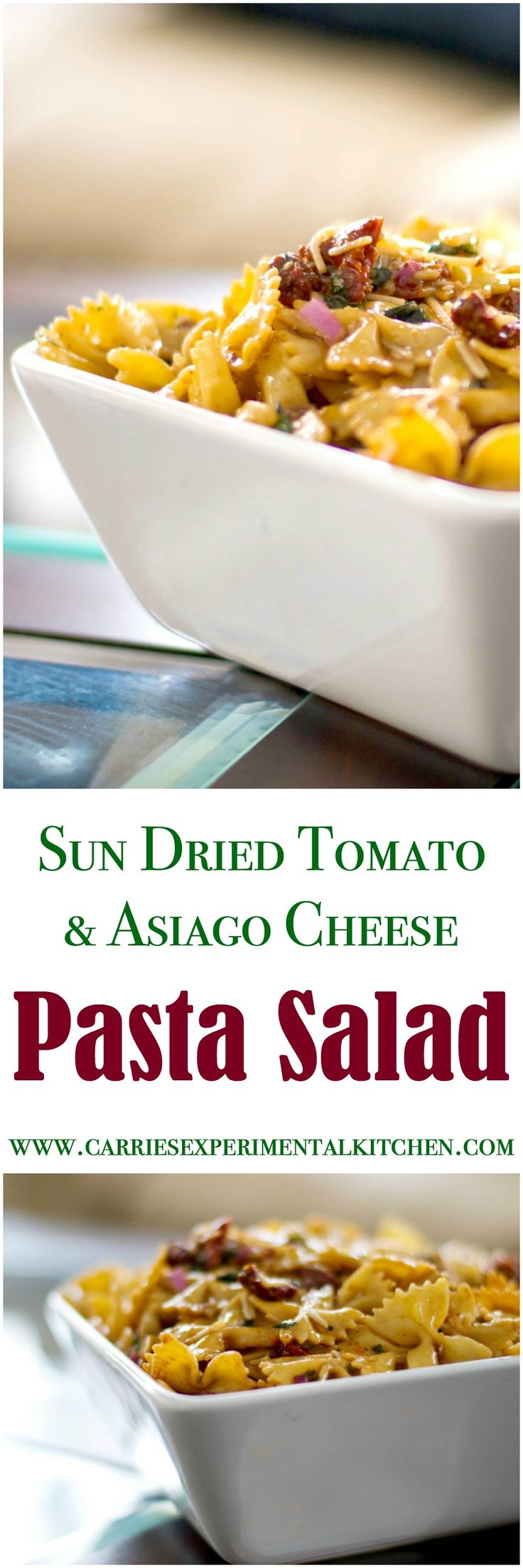 Sun Dried Tomato & Asiago Cheese Pasta Salad made with bow tie pasta, oil packed sun dried tomatoes, freshly shredded Asiago PDO cheese and basil in a balsamic vinaigrette.