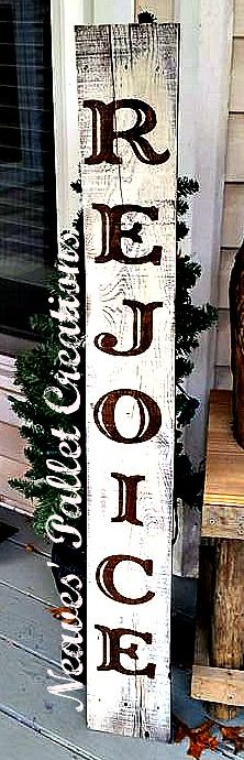 "RECYCLED WOOD PALLETS: This tall, 48"" sign, is 6"" wide and announces to your friends and family what the Christmas Season stands for. We should all rejoice at the glorious birth of Jesus. This sign can be taken inside by the fireplace or left outside by the front door, either place the message comes across. We are selling this sign for $22. Send us a message if you would like one for your home.  Item#825"