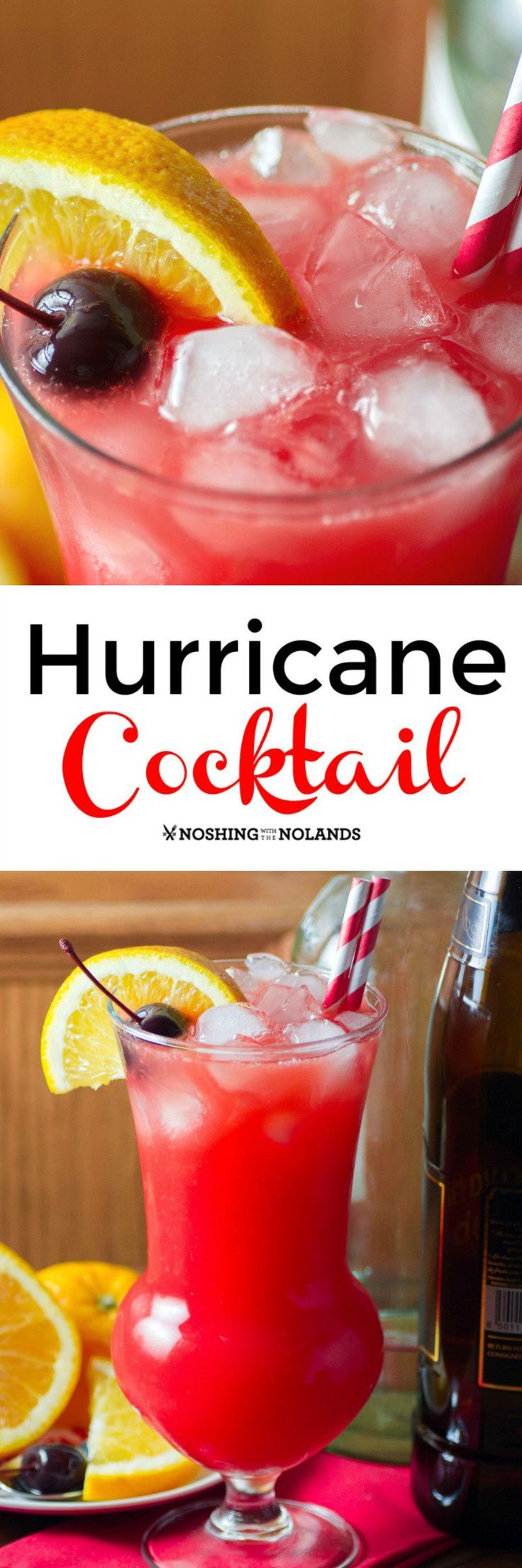 Hurricane Cocktail by Noshing With With The Nolands is a delectable combination of rums, grenadine and fruit juices that will take you away to the tropics with just one sip!