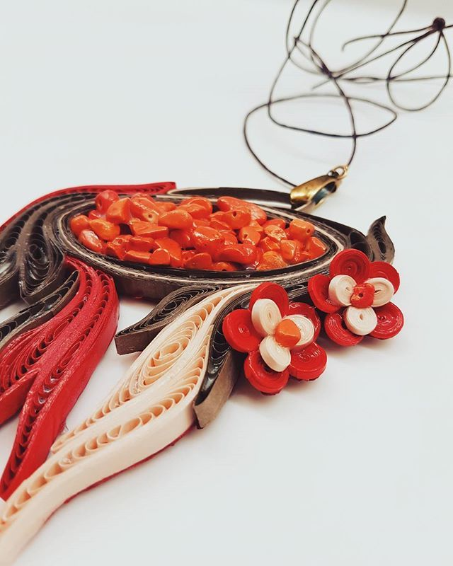 Quillion Jewelry  by the Quilling Artist Jenny Treeg  #quillingart #artist #quilling #art #madebyme #handmade #by #jennytreeg #necklaces #necklace #paper #strips #beads #jewelry #orange #and #bronze #2017 #new #collection #abstract #design #greece