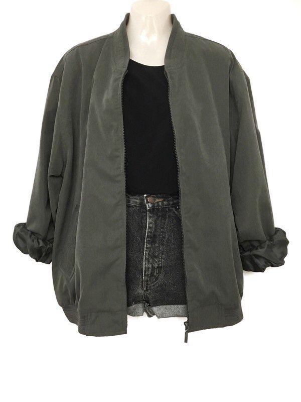 Mein True Vintage Oversize Blouson Jacke Military Green Urban Street Style Casua…
