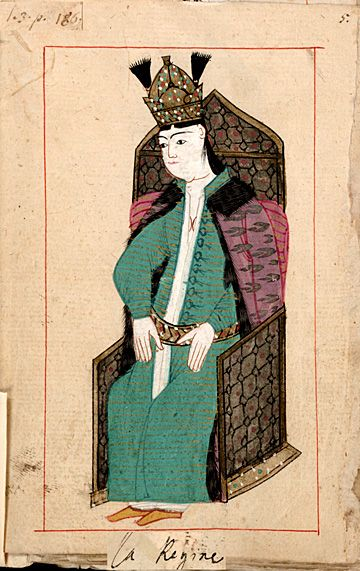 """The Queen""  ""La Regine"".  Hasseki Sultan, the Sultan's favourite wife who had born him a son.  The 'Rålamb Costume Book' is a small volume containing 121 miniatures in Indian ink with gouache and some gilding, displaying Turkish officials, occupations and folk types. They were acquired in Constantinople in 1657-58 by Claes Rålamb who led a Swedish embassy to the Sublime Porte, and arrived in the Swedish Royal Library / Manuscript Department in 1886."