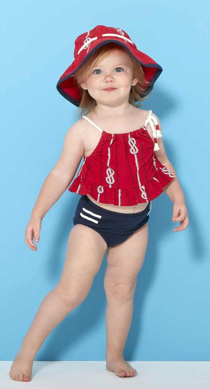 Le Top Girls Nautical Two Piece Swimsuit with Cord Straps – By The Sea