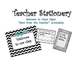 Teacher Welcome Signs and Stationery Printables Chevron