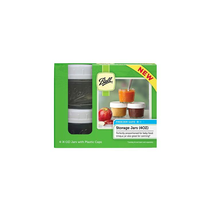 Ball Set of 4 4 oz Smooth Jars with Plastic Caps, Clear