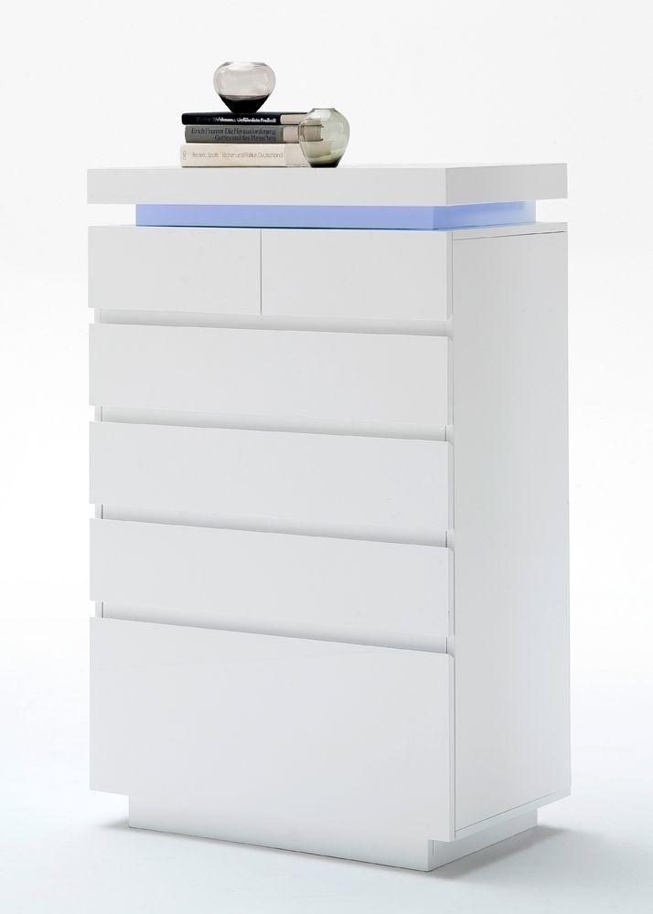 Kommode Ocean Mit LED Licht Weiß Hochglanz 8198. Buy Now At Https://