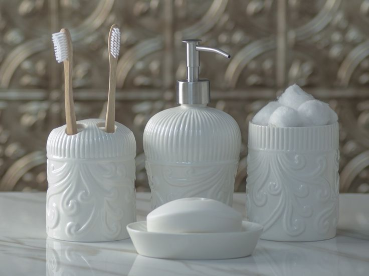 Designer 4-Piece Ceramic Bath Accessory Set by Comfify | Includes Liquid Soap or Lotion Dispenser w/ Premium Metal Pump, Toothbrush Holder, Tumbler, Soap Dish | Vintage Floral | Alpine White -The perfect blend of elegant luxury design, high-quality materials, and superior functionality.