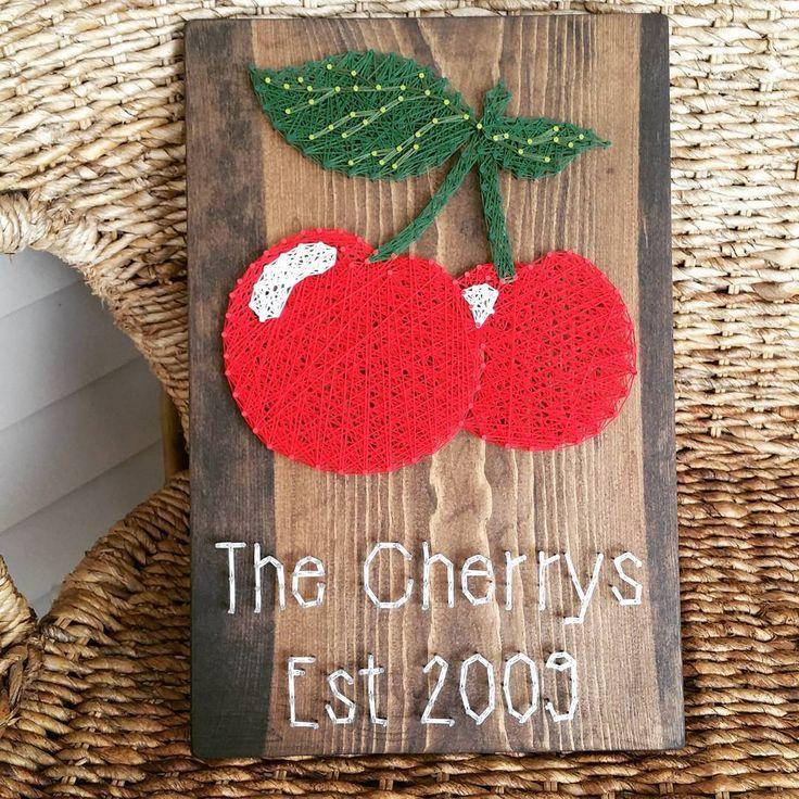 I am in love with this new custom I just finished!😍❤🍒 #cherries #stringart #rustichomedecor #supportsmallbusiness #mushbugcrafts #handmade #customgift #oneofakind #buyhandmade #customorder #gettinitdone #fruit #anniversary #bossmommy