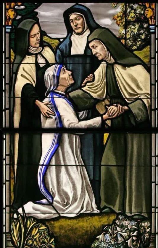 NOPE THIS IS TOO COOL CANT HANDLE IT. Saint Teresa Benedicta of the Cross, Saint Therese of Lisieux, and Saint Teresa of Avila welcoming Saint Teresa of Calcutta to the Communion of Saints
