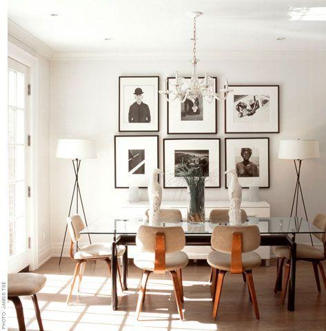 Black, white + wood: Modern dining room