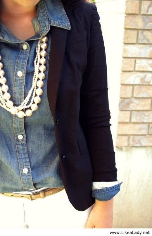 Fall Work Outfit With Chambray and Navy Jacket