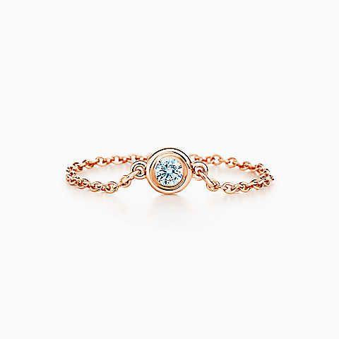 Elsa Peretti® Diamonds by the Yard® ring in 18k rose gold. Tiffany & Co.