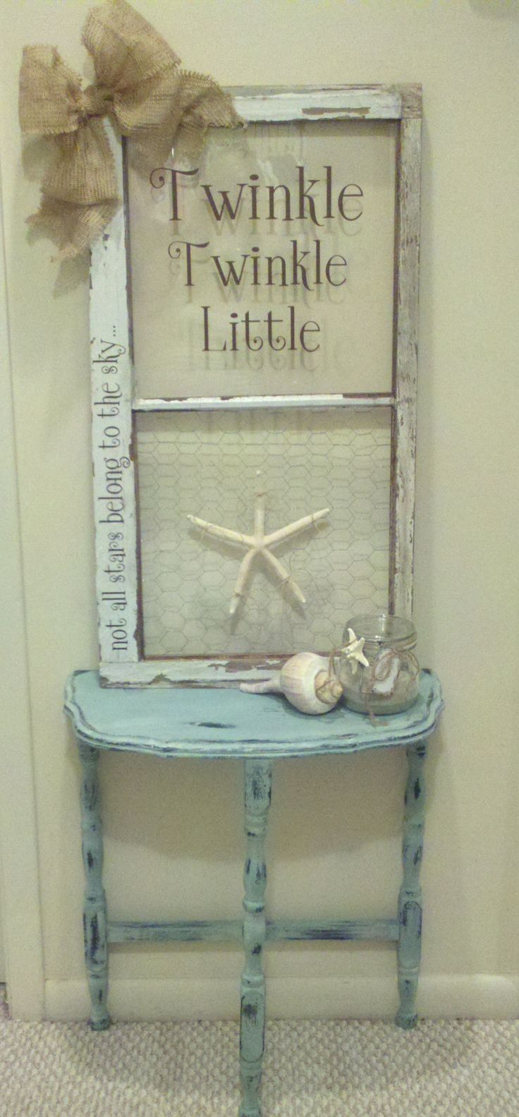 Antique Table and Window... that I gave a redo! Love Love Love my Silhouette Cameo! and Chalk Paint!