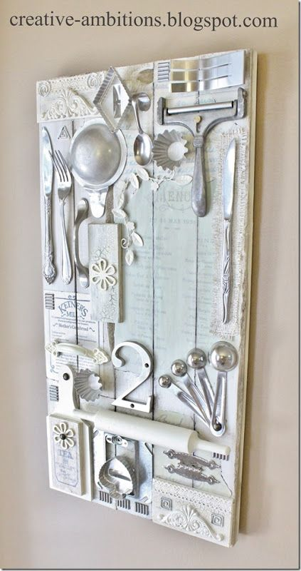 My FAVORITE DIY for a French Country Cottage Kitchen. Glad I kept grandmothers utensils. Click link above for directions.