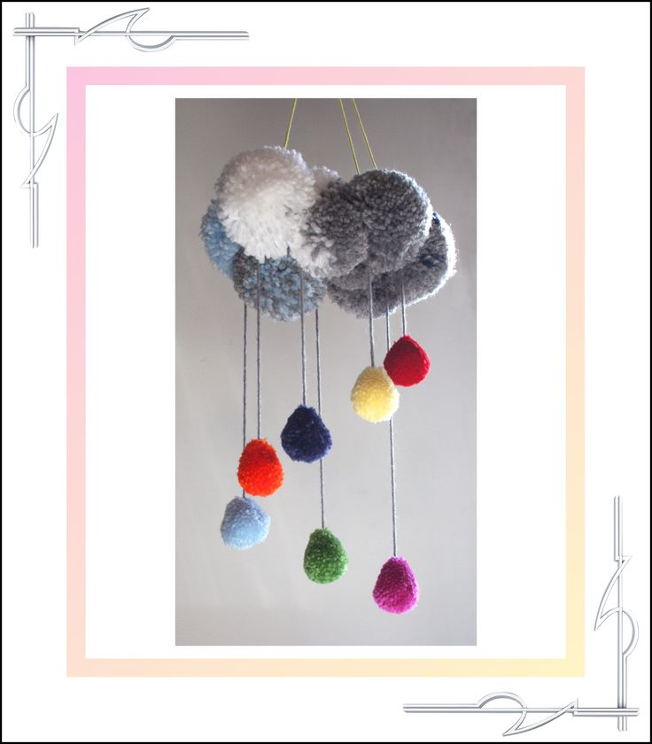 Sculptured Yarn, pom poms, pompoms, raincloud and raindrops mobile, hanging art, available for purchase at thatissocool.ca