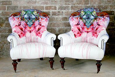Thunder Blotch Custom Button Back Georgian Armchairs - Timorous Beasties Glasgow showroom. £2000 / pair