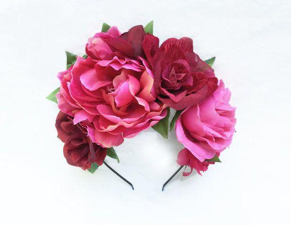 Frida Kahlo casco corona de flores rosa Frida Kahlo día de