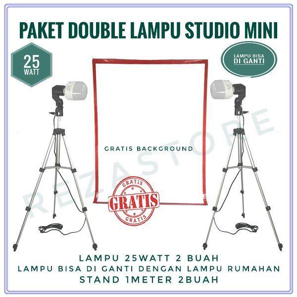 Beli Paket Double Lampu Foto Studio Mini 25 Watt Free Background Murah Lighting Foto Produk By Rezastore Dari Reza Store Eas Studio Mini