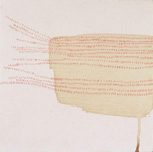 "misato suzuki / ""......"", 2003, 10"" x 10"", coffee and color pencils on canvas"