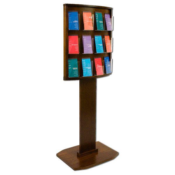 stands for pamphlets | 12 Pocket Oak Brochure Display Stand