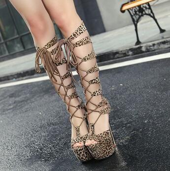 На платформе летние сапоги гладиатор сандалии женщин на высоких каблуках леопарда обувь Sandalias Femininas зашнуровать сапоги D536 купить на AliExpress