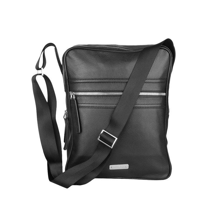 Aigner Leder Messenger Bag - Herren Handtasche schwarz