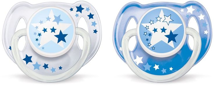 2 Piece Baby Pacifier 6-18 M Glow In The Dark Handles Blue Silicone Soother