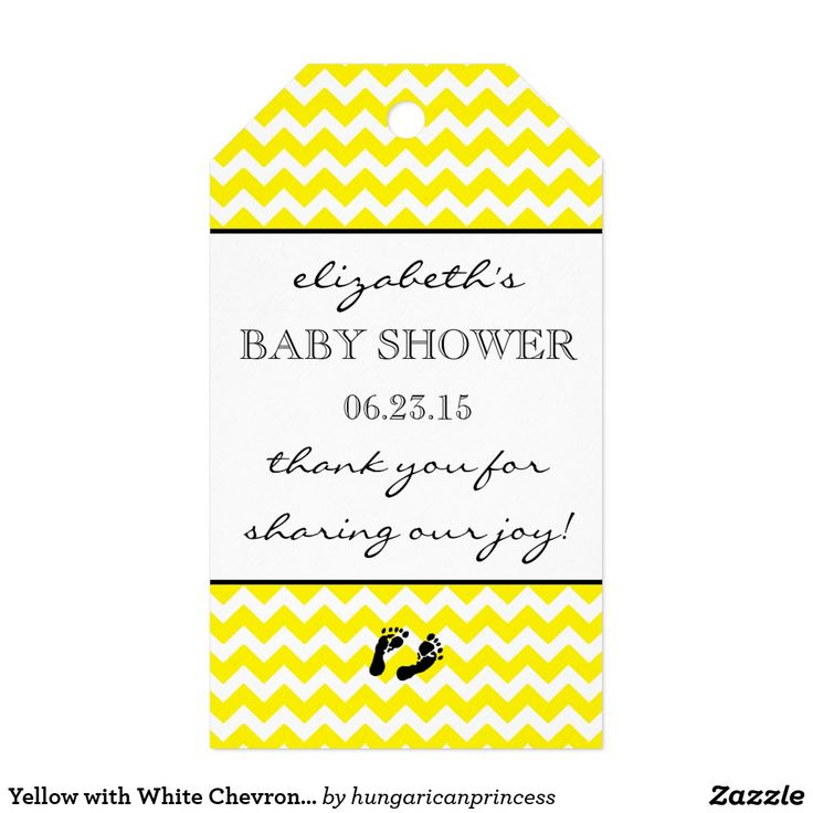 Yellow with White Chevron Baby Shower Thank You Gift Tags